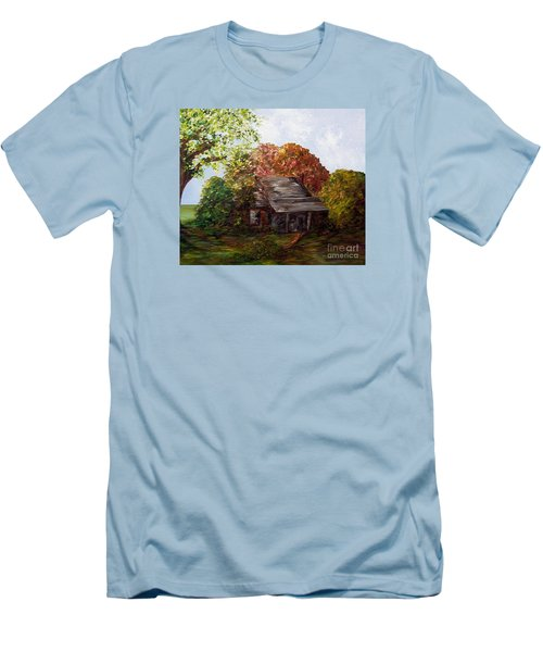 Men's T-Shirt (Slim Fit) featuring the painting Leaves On The Cabin Roof by Eloise Schneider