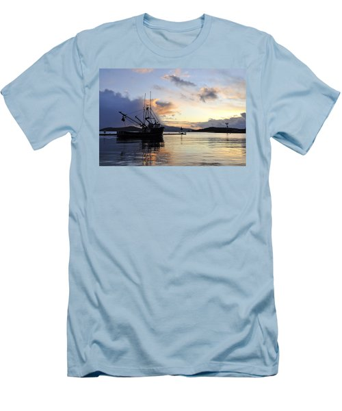 Men's T-Shirt (Slim Fit) featuring the photograph Leaving Safe Harbor by Cathy Mahnke
