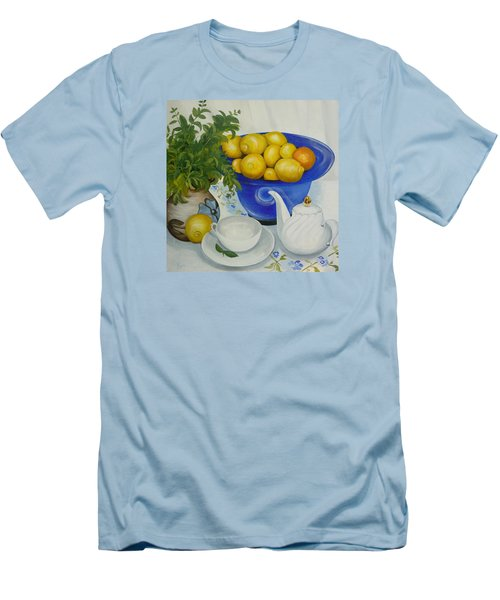 Men's T-Shirt (Slim Fit) featuring the painting Lemon Tea by Helen Syron
