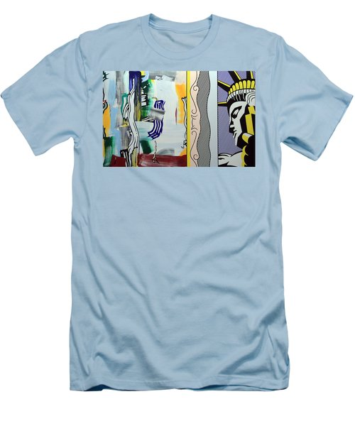 Lichtenstein's Painting With Statue Of Liberty Men's T-Shirt (Slim Fit)