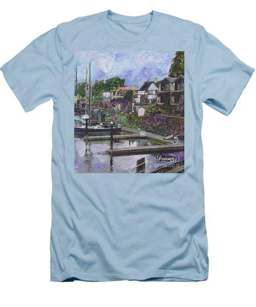 Alameda Life On The Estuary Men's T-Shirt (Slim Fit) by Linda Weinstock