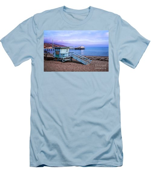 Lifeguard Tower And Malibu Beach Pier Seascape Fine Art Photograph Print Men's T-Shirt (Athletic Fit)