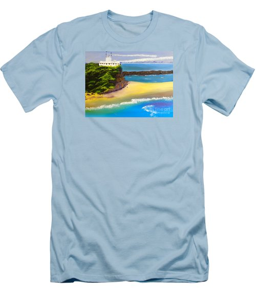 Men's T-Shirt (Slim Fit) featuring the painting Lighthouse At Nobbys Beach Newcastle Australia by Pamela  Meredith
