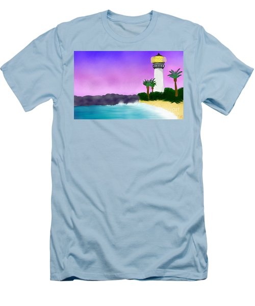 Lighthouse On Beach Men's T-Shirt (Slim Fit) by Anita Lewis