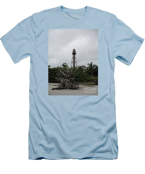 Lighthouse On Sanibel Island Men's T-Shirt (Slim Fit) by Christiane Schulze Art And Photography