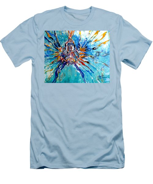 Lion Fish Blue Men's T-Shirt (Athletic Fit)