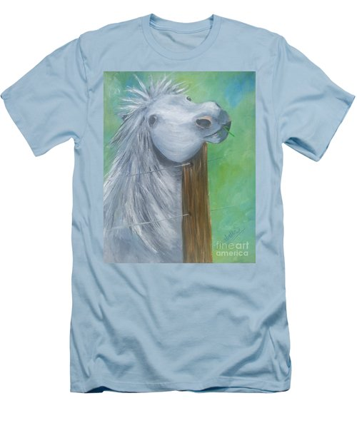Men's T-Shirt (Slim Fit) featuring the painting Little Grey Has An Itch by Isabella F Abbie Shores FRSA