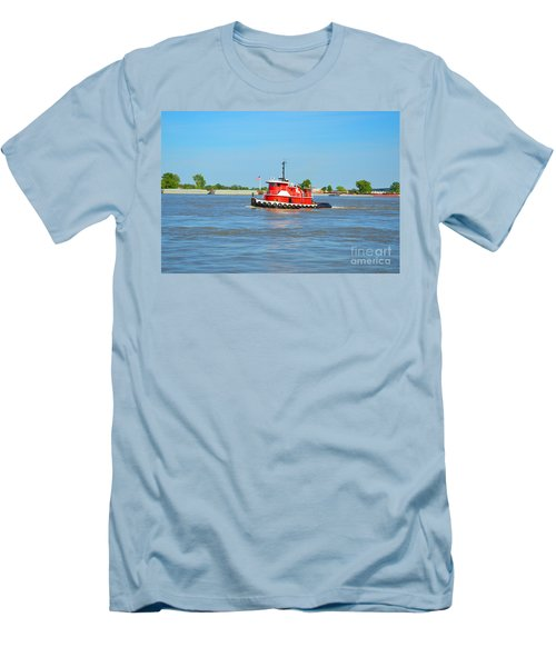 Little Red Boat On The Mighty Mississippi Men's T-Shirt (Slim Fit) by Alys Caviness-Gober