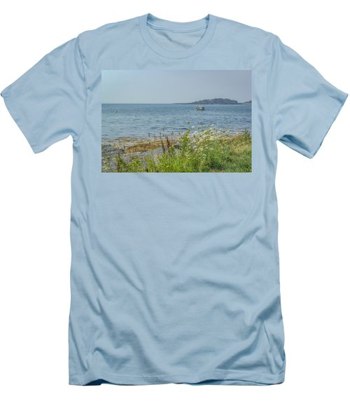 Men's T-Shirt (Slim Fit) featuring the photograph Lobster Boat At Rest by Jane Luxton