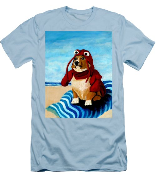 Lobster Corgi On The Beach Men's T-Shirt (Athletic Fit)