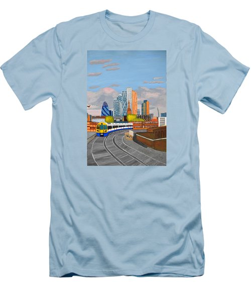 London Overland Train-hoxton Station Men's T-Shirt (Slim Fit) by Magdalena Frohnsdorff