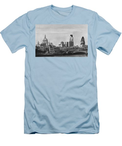 London Skyline Pencil Drawing Men's T-Shirt (Athletic Fit)