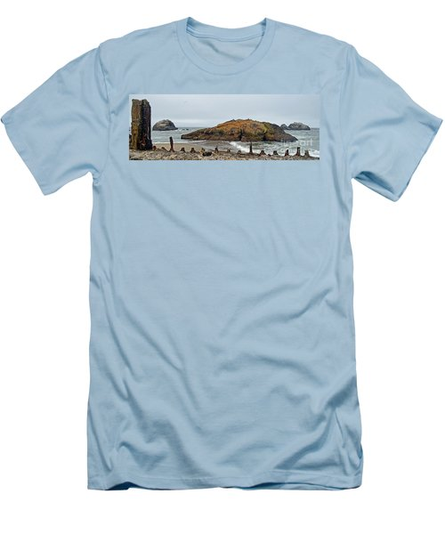 Looking Out On The Pacific Ocean From The Sutro Bath Ruins In San Francisco  Men's T-Shirt (Slim Fit) by Jim Fitzpatrick