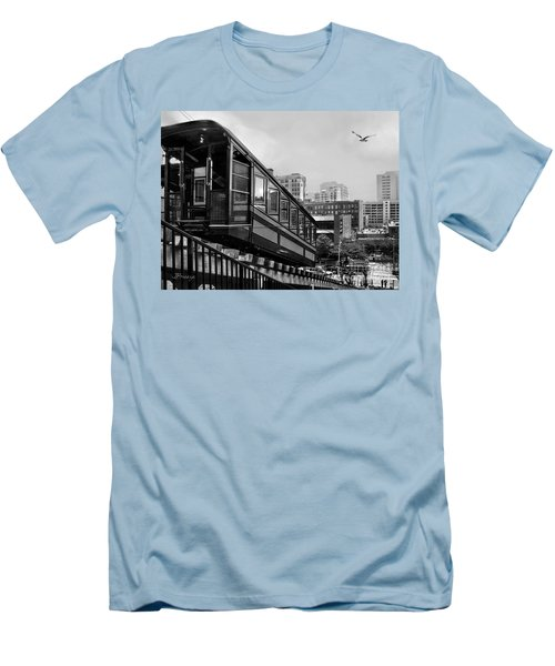 Los Angeles Angels Flight.bw Men's T-Shirt (Slim Fit) by Jennie Breeze