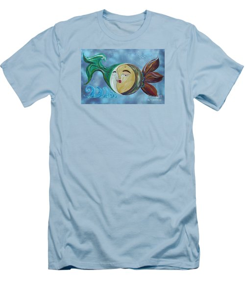Men's T-Shirt (Slim Fit) featuring the painting Love Connect - You Are My Moon And Sun by Eloise Schneider