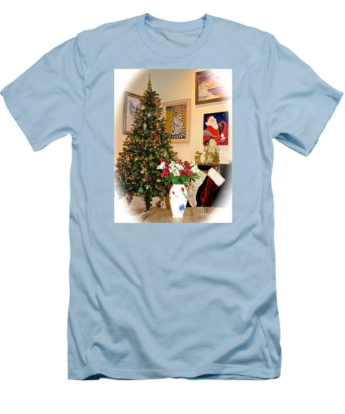 Love In Our Hearts And Santa In The Corner Men's T-Shirt (Slim Fit) by Phyllis Kaltenbach