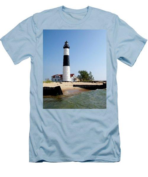 Ludington Michigan's Big Sable Lighthouse Men's T-Shirt (Athletic Fit)
