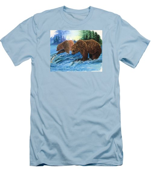 Men's T-Shirt (Slim Fit) featuring the painting Lunch Break by Sherry Shipley