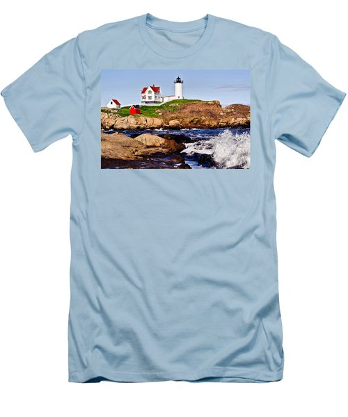 Maine's Nubble Light Men's T-Shirt (Athletic Fit)