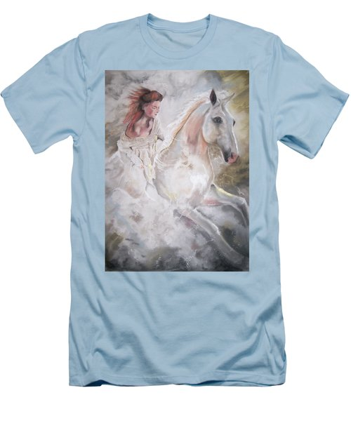 Men's T-Shirt (Slim Fit) featuring the pastel Majestic Flow by Peter Suhocke