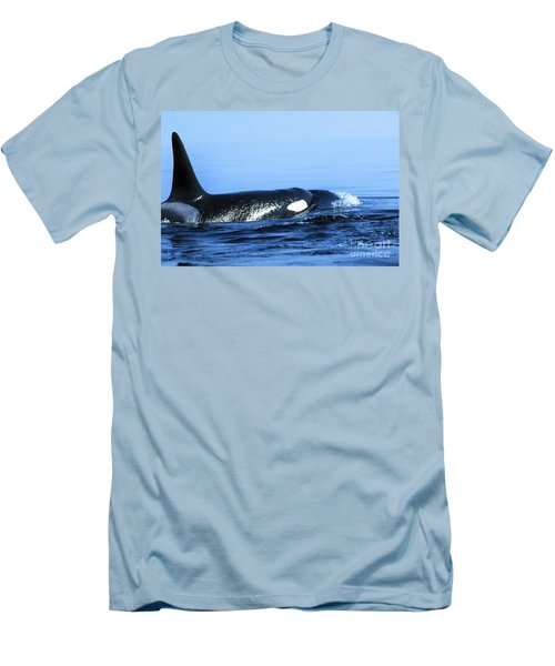Men's T-Shirt (Slim Fit) featuring the photograph Male Orca Off The San Juan Islands Washington 1986 by California Views Mr Pat Hathaway Archives