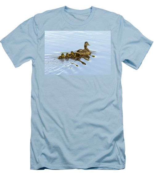 Mallard And Chicks  Men's T-Shirt (Slim Fit) by Chris Flees