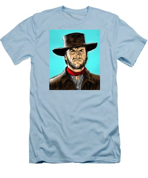 Men's T-Shirt (Slim Fit) featuring the mixed media Clint Eastwood by Salman Ravish