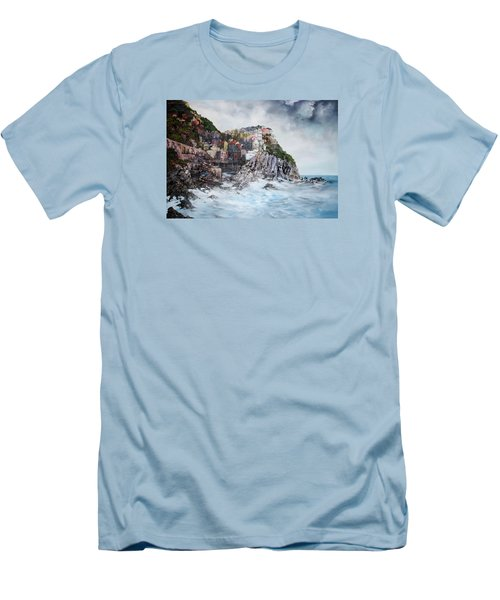 Men's T-Shirt (Slim Fit) featuring the painting Manarola Italy by Jean Walker
