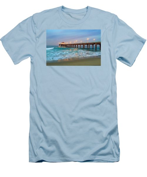 Manhattan Beach Reflections Men's T-Shirt (Slim Fit) by Art Block Collections