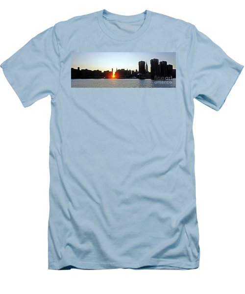 Men's T-Shirt (Slim Fit) featuring the photograph Manhattanhenge 2011 by Lilliana Mendez
