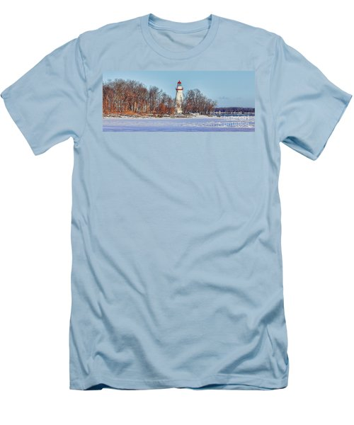 Marblehead Lighthouse In Winter Men's T-Shirt (Athletic Fit)