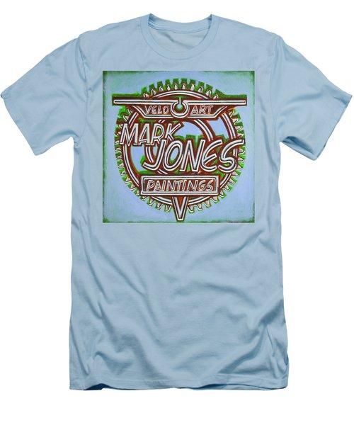 Men's T-Shirt (Slim Fit) featuring the painting Mark Jones Velo Art Painting Blue by Mark Howard Jones