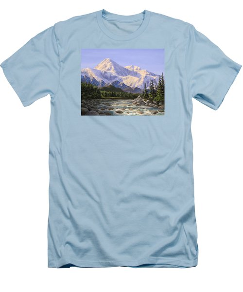 Majestic Denali Alaskan Painting Of Denali Men's T-Shirt (Slim Fit) by Karen Whitworth