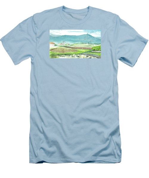 Men's T-Shirt (Slim Fit) featuring the painting Medjugorje Fields by Christina Verdgeline