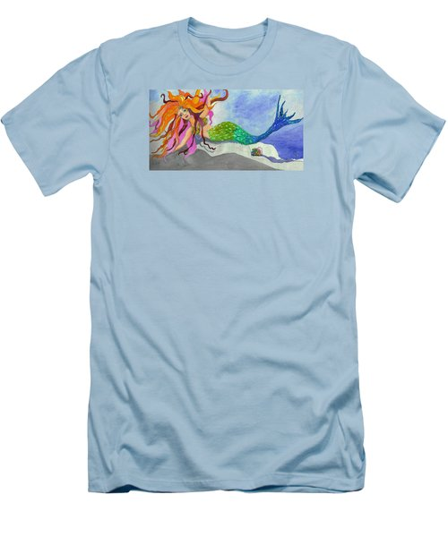 Mermaids On My Mind Men's T-Shirt (Slim Fit) by Anne Marie Brown