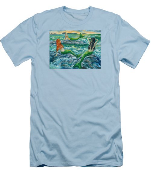 Mermaids On The Rocks Men's T-Shirt (Slim Fit) by Julie Brugh Riffey