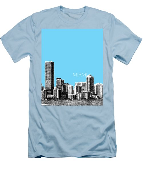 Miami Skyline - Sky Blue Men's T-Shirt (Athletic Fit)