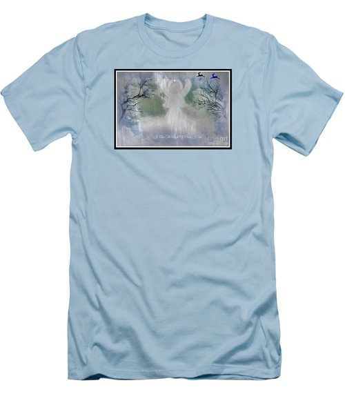 Men's T-Shirt (Slim Fit) featuring the digital art Midnight Angel Of Peace by Sherri  Of Palm Springs
