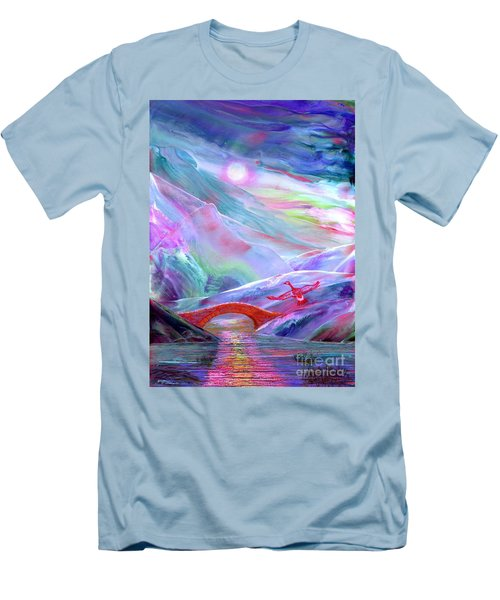 Men's T-Shirt (Slim Fit) featuring the painting   Midnight Silence, Flying Goose by Jane Small