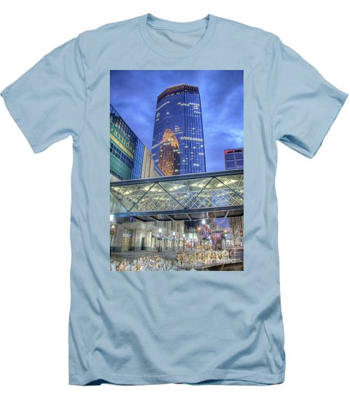 Minneapolis Skyline Photography Nicollet Mall Winter Evening Men's T-Shirt (Athletic Fit)
