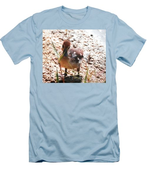 Men's T-Shirt (Slim Fit) featuring the photograph Duckling Searching by Belinda Lee