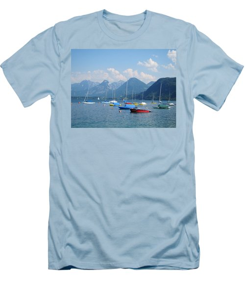 Men's T-Shirt (Slim Fit) featuring the photograph Moored Boats by Pema Hou