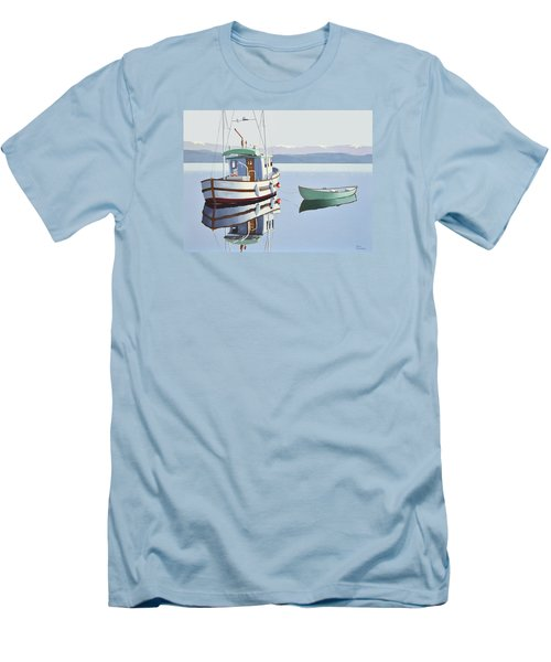 Morning Calm-fishing Boat With Skiff Men's T-Shirt (Slim Fit) by Gary Giacomelli