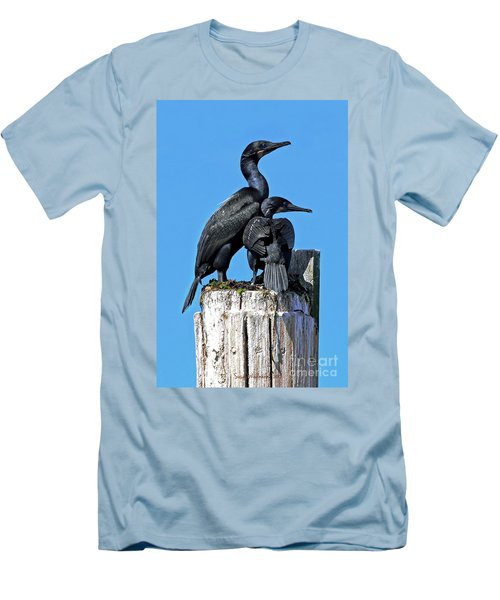 Men's T-Shirt (Slim Fit) featuring the photograph Mother And Baby Brandt's Cormorants by Susan Wiedmann