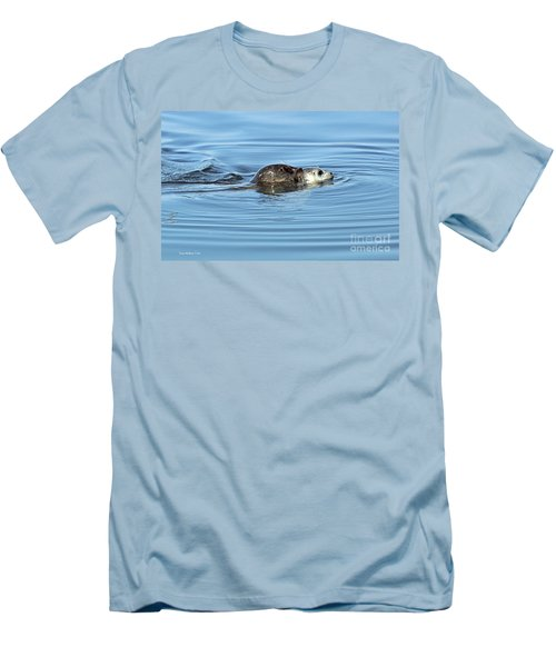 Men's T-Shirt (Slim Fit) featuring the photograph Mother Harbor Seal And Pup by Susan Wiedmann