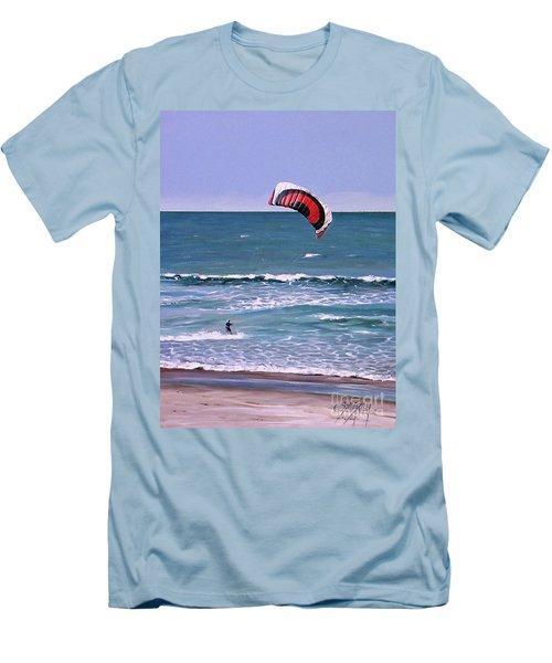 Mount Maunganui 160308 Men's T-Shirt (Slim Fit) by Sylvia Kula