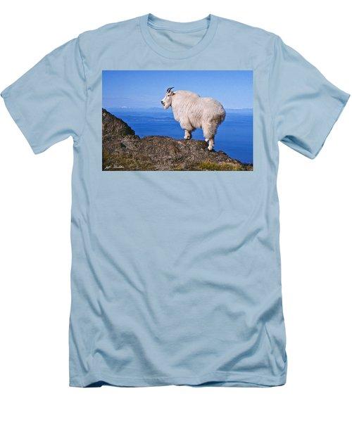 Mountain Goat On Klahane Ridge Men's T-Shirt (Slim Fit) by Jeff Goulden