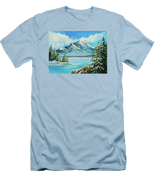 Men's T-Shirt (Slim Fit) featuring the painting Mountain Lake In Winter Original Painting Forsale by Bob and Nadine Johnston