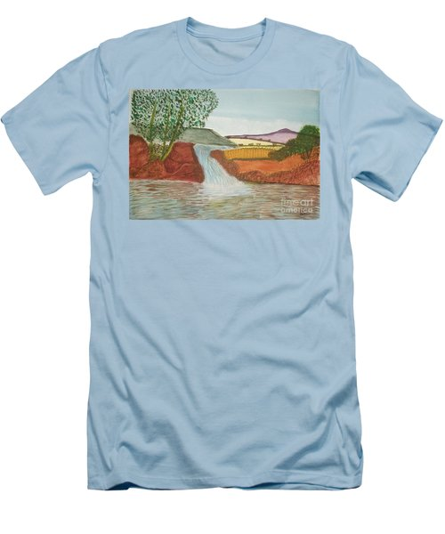 Men's T-Shirt (Slim Fit) featuring the painting Mountain Stream by Tracey Williams
