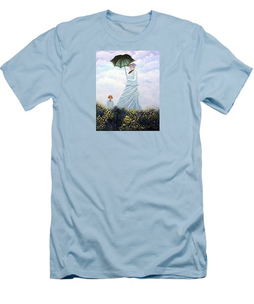Men's T-Shirt (Slim Fit) featuring the painting Mrs. Monet And Son by Fran Brooks